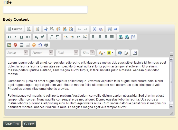 Exponent CMS Text Editor