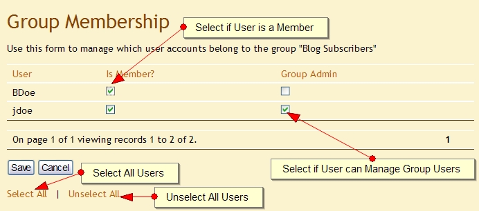 Manage User Group Members Exponent CMS