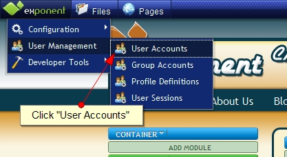 Exponent CMS User Accounts